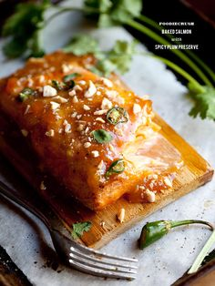 Baked Salmon with Spicy Plum Preserves   #glutenfree #recipe