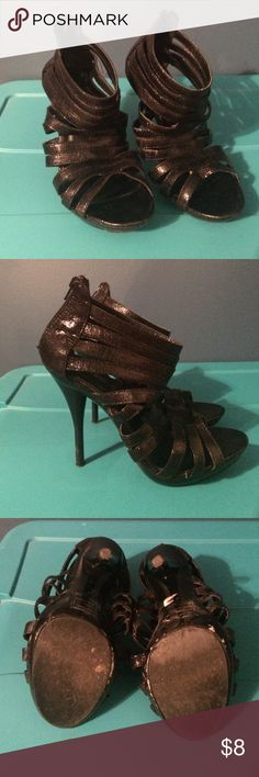 """Charlotte Russe Strappy Pumps. Worn these more then a couple times to the bar, they are a little beat up but there is a lot of life left to them! I'm open to offers on these! They are a size 7, but I'm an 8, and they fit me perfectly. They're actually very comfortable. Heel is 5"""". They also have a little sparkle shine to them. Charlotte Russe Shoes Heels"""
