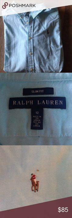 Ralph Luaren soft blue business button down top Slim fit Ralph Lauren business top, worn once for an interview, soft baby blue color, long sleeve.   (There are two different shirts here, same size, one baby blue one seafoam blue green. Each $85 or both for $150) Ralph Lauren Tops Button Down Shirts