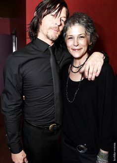 Norman Reedus & Melissa McBride 'The Walking Dead' panel at the Egyptian Theater on Monday, April 2015 in Los Angeles Walking Dead Characters, Walking Dead Tv Series, Fear The Walking Dead, Judith Grimes, Carl Grimes, Norman Reedus, Daryl And Carol, Melissa Mcbride, Daryl Dixon