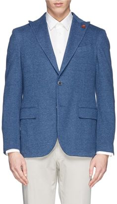 $1,225, Blue Wool Blazer: Lardini Peak Lapel Woven Cotton Blazer. Sold by Lane Crawford. Click for more info: http://lookastic.com/men/shop_items/187191/redirect