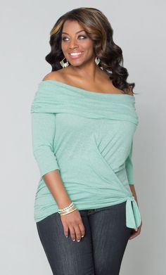 Check out our plus size Dream Departure Top in a soft mint green color. It's light, flattering and sexy with an off-the-shoulder design; everything you need! www.kiyonna.com For specific top in photo follow link below http://www.kiyonna.com/plus-size-clothing/22142604 NOTE: Enter Code GIFT20 for 20% Discount on Order
