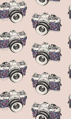 Uploaded by Backgrounds. Find images and videos about wallpaper, background and camera on We Heart It - the app to get lost in what you love. Illustrations, Illustration Art, Pattern Art, Pattern Design, Camera Drawing, Pretty Patterns, Textures Patterns, Floral Patterns, Pattern Wallpaper