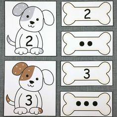 puppy number match for preschool and kindergarten