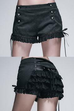 eleganta svarta shorts med spets, volanger och spets på baksidan, gotisk aristokrat