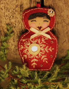 Matryoshka  Snow Maiden Hand embroidered by TheSnowQueensGarden, $17.00