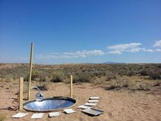 In Albuquerque at ISEA, prototyping another application for the solar basin. This atmospheric water generator uses salt and solar heat to extract moisture from the desert air.