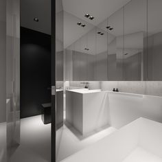 Mirrored bathroom walls make a small space seem huge.