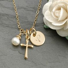"Hand Stamped Gold-filled Initial Necklace - 3/8"" round disc with Cross pendant and pearl."