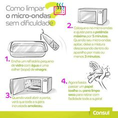 como limpar o micro-ondas sem dificuldade Household Cleaning Tips, Diy Cleaning Products, Cleaning Hacks, Polymer Clay Kawaii, Flylady, Personal Organizer, Polymer Clay Miniatures, Clay Tutorials, Life Organization