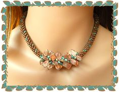 Kumi Necklace Copper & Aqua Leaves - Sally Bead Jewelry