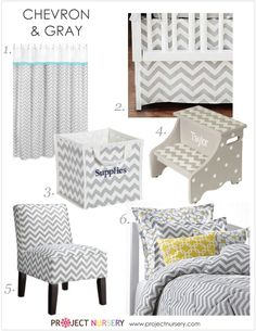 Chevron Featuring Grey! A Trend Alert Designer Fashion Decor Accessories  Stool Chair Bedding projectnursery.com