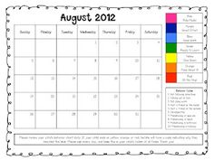 Maybe for a particular struggling student (behavior-wise) in lower grades. Free printable calendars to communicate clip chart behavior - The First Grade Scoop Home Behavior Charts, Classroom Behavior Chart, Classroom Behavior Management, Behavior Plans, Student Behavior, Behaviour Management, Behaviour Chart, Behavior Log, Positive Behavior