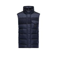 Men Moncler Dark Blue Athos Sophisticated Quilted Down Vest