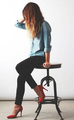 denim shirt black skinny red heel