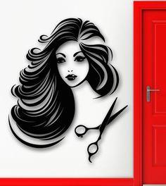 Wall Sticker Vinyl Decal Hot Sexy Girl Hair Salon Beauty Spa Stylist U – Cheap Wall Stickers, Removable Wall Stickers, Wall Stickers Murals, Vinyl Wall Decals, Sticker Vinyl, Beauty Salon Decor, Hair And Beauty Salon, Art Vinyl, Hair Spa