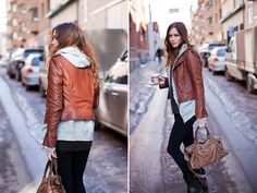 Love the leather jacket - perfect European style