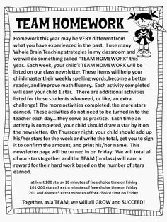 "Team Homework idea from ""Teaching Maddeness"" blog."