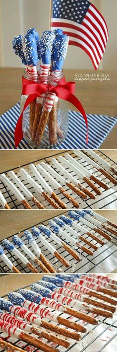 Blue white and red dipped pretzels recipe for of july usa food, patri. 4th Of July Desserts, Fourth Of July Food, 4th Of July Party, Fourth Of July Recipes, Patriotic Desserts, July 4th Appetizers, Patriotic Table Decorations, Blue Desserts, 4th Of July Fireworks