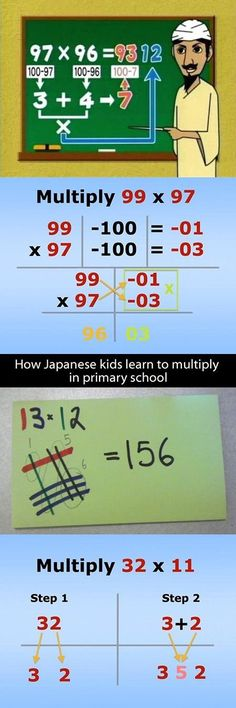 Here's an easy trick to multiply large numbers in your head. - Kids education and learning acts Teacher Hacks, Math Teacher, Teaching Math, Math Hacks, Math For Kids, Fun Math, Maths, Kids Fun, Math Resources