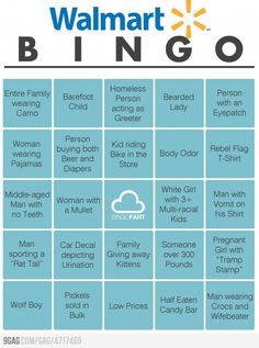 Walmart Bingo...most of these I could do just in the parking lot! Lol