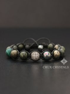 Unisex: Edelstein Perlen Armband Herren Shamballa von CruxCrystals