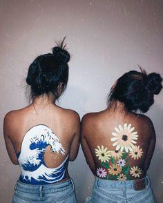 Ideas body art painting back flowers Leg Painting, Painting Tattoo, Painting & Drawing, Belly Painting, Body Painting Girls, Body Painting Tumblr, Painting Flowers, Art Flowers, Skin Paint