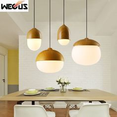 (Wecus) Nordic style nuts pendant lamp modern creative imitation wood pendant lamp dining room restaurant cafe chandelier #Affiliate