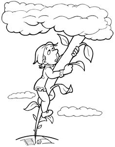 Coloring page of Jack climbing up the beanstalk