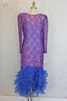 MICHAEL MAIELLO // Frothy 1980s Sequin + Ribbon Ruffle Hem Lace Dress | M/L #MichaelMaielloforPatRichards #Formal