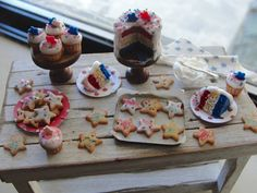 Dollhouse miniature red, white, and blue baking