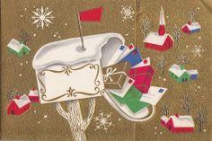 Vintage Greeting Card Christmas Mailbox Church Houses Metallic Gold i803