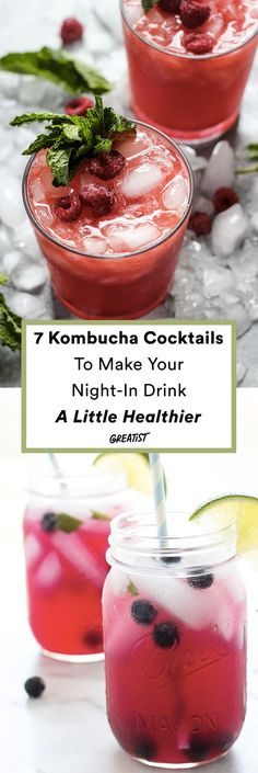 Kombucha Cocktails If kombucha is your go-to drink on a Tuesday night but come Friday you want to take the edge off, use these kombucha recipes for healthier cocktails. Kombucha Cocktail, Cocktail Drinks, Cocktail Recipes, Healthy Cocktails, Yummy Drinks, Fun Drinks, Alcoholic Drinks, Yummy Food, Alternative