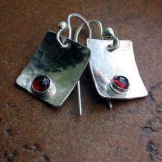 Hammered Sterling Silver Garnet Dangle Earrings by LavenderCottage