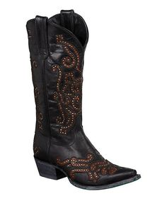 Take a look at the Lane Boots Black Studded Gianna Leather Cowboy Boot on #zulily today!