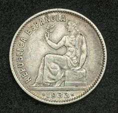 Coins of the Spanish Republic 1 Peseta Silver Coin, mint date 1933. Coins of Spain, Spanish silver coin, Spanish coinage, Spanish silver coins, Numismatic Collection, silver coins, old coins, coin collecting, rare coins, world coins, foreign coins, heritage coins, silver ira investment, silver bullion coins, silver coin collection investors, investment coins, antique coins, Unique Silver Coins, collectible coins. Legend: REPUBLICA ESPANOLA
