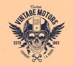 Illustration about Rider skull with retro racer attributes. Illustration of school, piston, dotwork - 54835373 Biker Tattoos, Motorcycle Tattoos, Motorcycle Logo, Classic Motorcycle, Skull Logo, Skull Print, Tattoo Caveira, Dessin Old School, Grunge