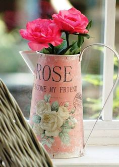 rosecottage.quenalbertini: Roses in a vintage pitcher