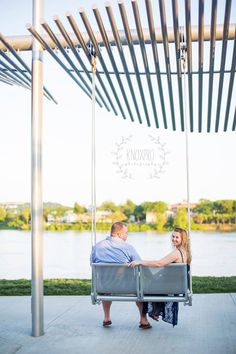 Smale Park Engagement Session Photo by Knox Pro Photography - Greater Cincinnati Wedding Photographer, Northern Kentucky NKY (also Lexington, Louisville, Morehead, Eastern, Central) KY (Dayton Columbus, Southern) OH Ohio, Indiana IN & Destination! - Creative Couple Portrait Picture on Cincinnati Swing overlooking the Ohio River!