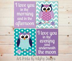 Nursery Print Set Purple Owl Art Baby Prints Turquoise Wall Twins 1131