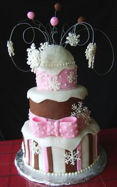 """Winter """"One""""derland Birthday cake By SweetieVie on CakeCentral.com"""