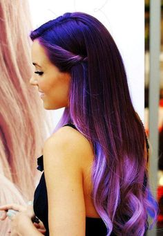 Blue and purple ombre hair. If I could pull off some cool colored look like this, I would.