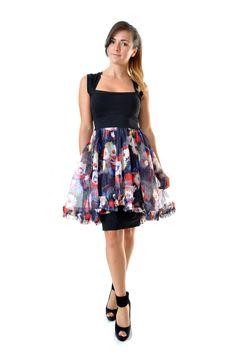 Robe courte sweetheart en coton et tulle fleuri : Robe par gwaelonna dress fashion france mode