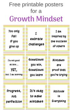 These growth mindset poster free printables are a great way to bring positivity into your classroom or home. 12 free printable growth mindset posters. Positive Affirmations For Kids, Positive Mindset, Daily Affirmations, Growth Mindset Posters, Mindset Quotes, Free Poster Printables, Affirmation Quotes, Teacher Hacks, Quotes For Kids