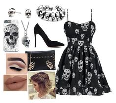 """""""Skulls"""" by sparklequeen2345 on Polyvore featuring Kasun, Black Pearl and Gianvito Rossi"""