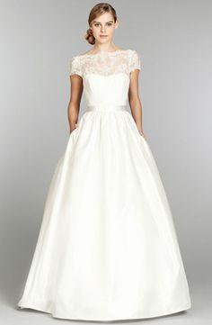 Bridal Gowns: Tara Keely A-Line Wedding Dress with Bateau Neckline and Natural Waist Waistline
