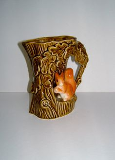 1950s Ceramic SylvaC Vase with a Squirrel in Tree by BiminiCricket, $45.00