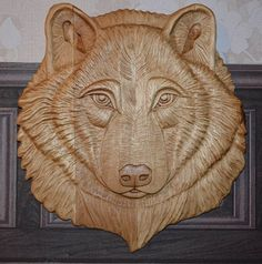 Wolf wood carving handmade original unique