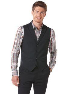 6b4f6d1894 Perry Ellis Fine Stripe Suit Vest Plaid Fashion