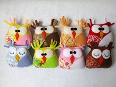 Adorable little OWLS made with felt and fabric by Lilolimon